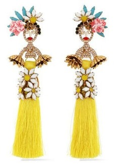 Elizabeth Cole Woman 24-karat Gold-plated Swarovski Crystal Stone Acrylic And Tassel Earrings Yellow