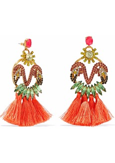 Elizabeth Cole Woman 24-karat Gold-plated Swarovski Crystal Stone And Tassel Earrings Coral