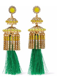 Elizabeth Cole Woman 24-karat Gold-plated Swarovski Crystal Stone And Tassel Earrings Yellow