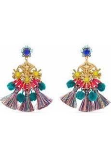 Elizabeth Cole Woman 24-karat Gold-plated Swarovski Crystal Tassel And Pompom Earrings Gold