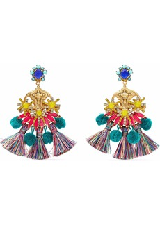 Elizabeth Cole Woman 24-karat Gold-plated Swarovski Crystal Tassel And Pompom Earrings Gold