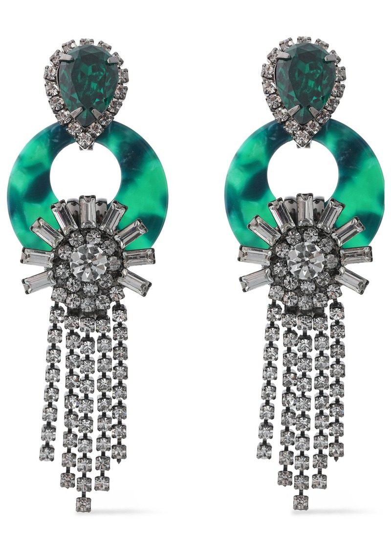 Elizabeth Cole Woman Addis Hematite-plated Tortoiseshell Acetate And Crystal Earrings Jade