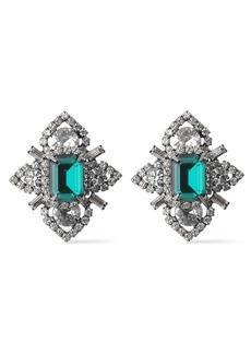 Elizabeth Cole Woman Annabeth Hematite-plated Crystal Earrings Emerald