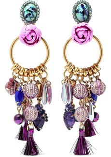 Elizabeth Cole Woman Aussie Burnished 24-karat Gold-plated Embellished Earrings Purple
