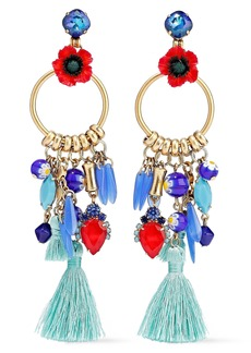 Elizabeth Cole Woman Aussie Burnished 24-karat Gold-plated Embellished Earrings Multicolor
