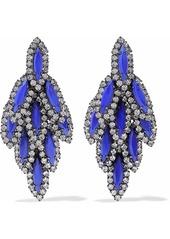 Elizabeth Cole Woman Bacall Gunmetal-tone Stone And Swarovski Crystal Earrings Blue