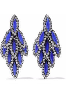 Elizabeth Cole Woman Bacall Gunmetal-tone Stone And Swarovski Crystal Earrings Blue