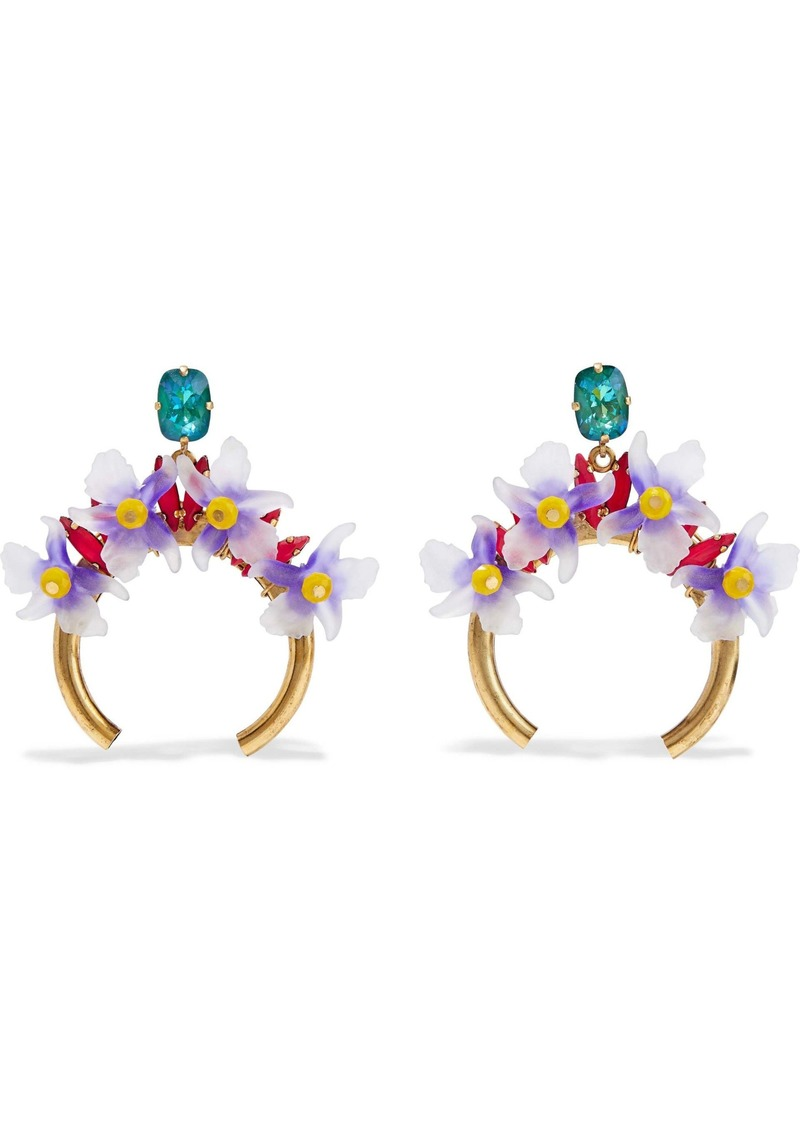 Elizabeth Cole Woman Bliss Burnished 24-karat Gold-plated Resin And Stone Hoop Earrings Gold