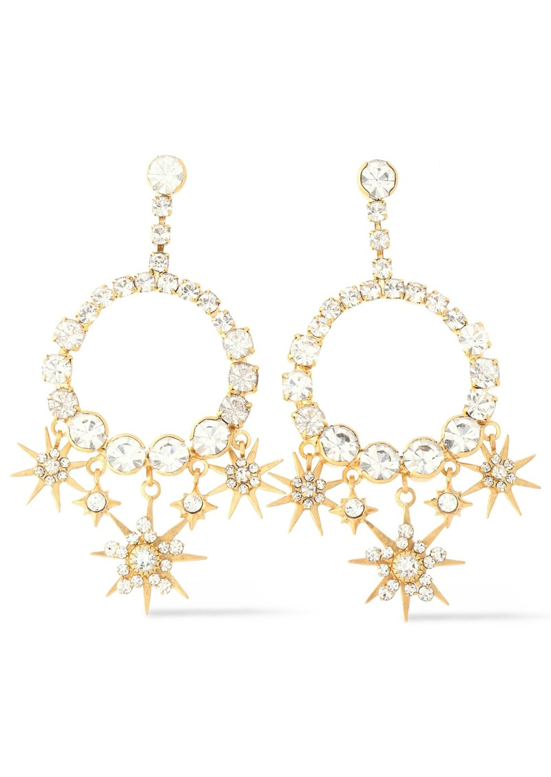 Elizabeth Cole Woman Bracken 24-karat Gold-plated Crystal Earrings Gold