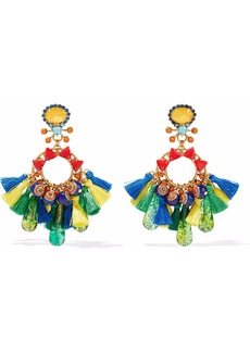 Elizabeth Cole Woman Burnished 24-karat Gold-plated Acrylic Crystal And Tassel Earrings Multicolor
