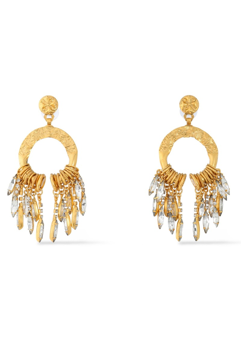 Elizabeth Cole Woman Cadence Hammered Gold-plated Crystal Earrings Gold