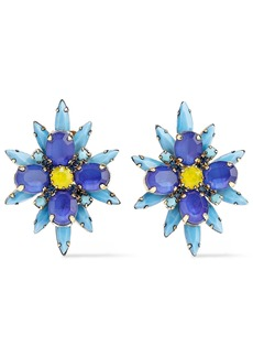 Elizabeth Cole Woman Crystal Stone And Gold-tone Clip Earrings Blue