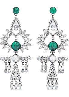 Elizabeth Cole Woman Elisa Hematite-plated Swarovski Crystal And Stone Earrings Silver