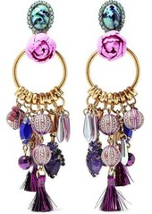 Elizabeth Cole Woman Aussie Burnished 24-karat Gold-plated Embellished Earrings Multicolor
