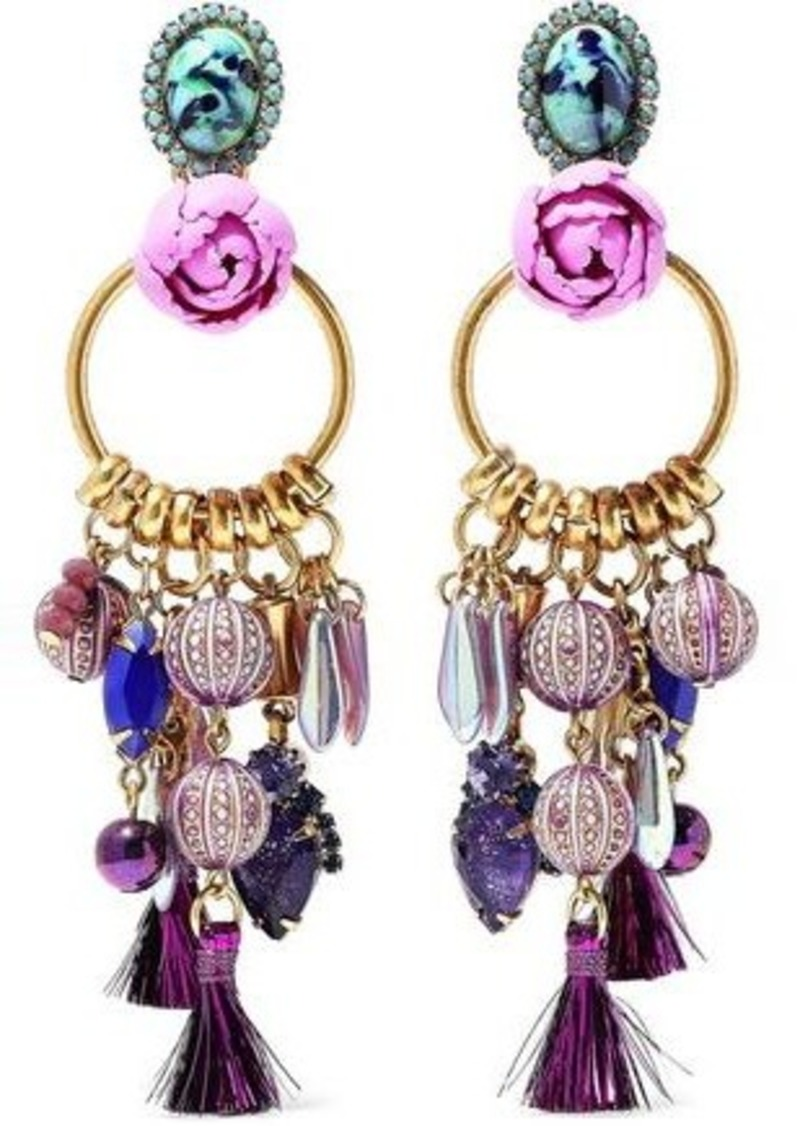 Elizabeth Cole Woman Aussie Burnished 24-karat Gold-plated Embellished Earrings Purple