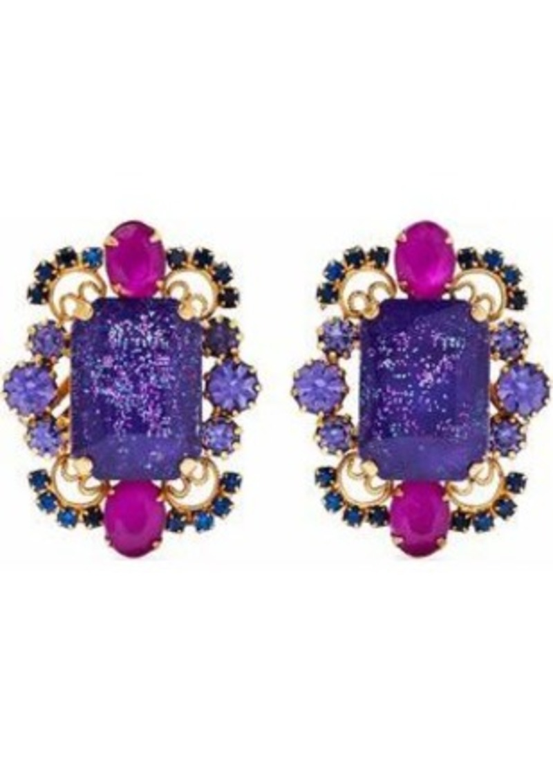 Elizabeth Cole Woman Garner 24-karat Gold-plated Stone And Crystal Clip Earrings Purple