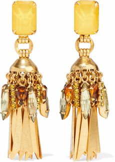 Elizabeth Cole Woman Gold-plated Crystal Earrings Gold