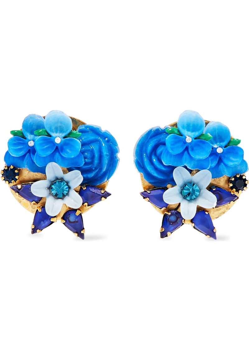 Elizabeth Cole Woman Gold-tone Crystal And Resin Earrings Blue