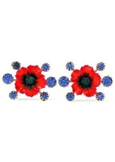 Elizabeth Cole Woman Xenia 24-karat Gold-plated Resin And Crystal Earrings Red