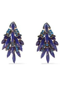 Elizabeth Cole Woman Gold-tone Stone And Crystal Earrings Blue