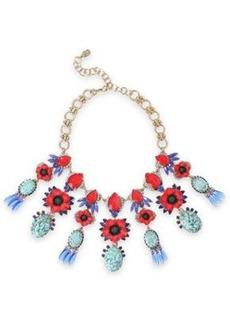 Elizabeth Cole Woman Mezzi 24-karat Gold-plated Resin Stone And Swarovski Crystal Necklace Red