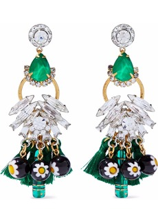 Elizabeth Cole Woman Gold-tone Tasseled Crystal And Bead Earrings Green