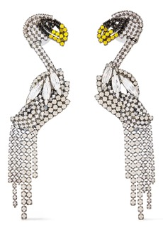 Elizabeth Cole Woman Hematite-plated Crystal Earrings Silver