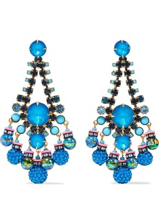 Elizabeth Cole Woman Hematite-plated Gold-tone Stone Crystal And Bead Earrings Multicolor