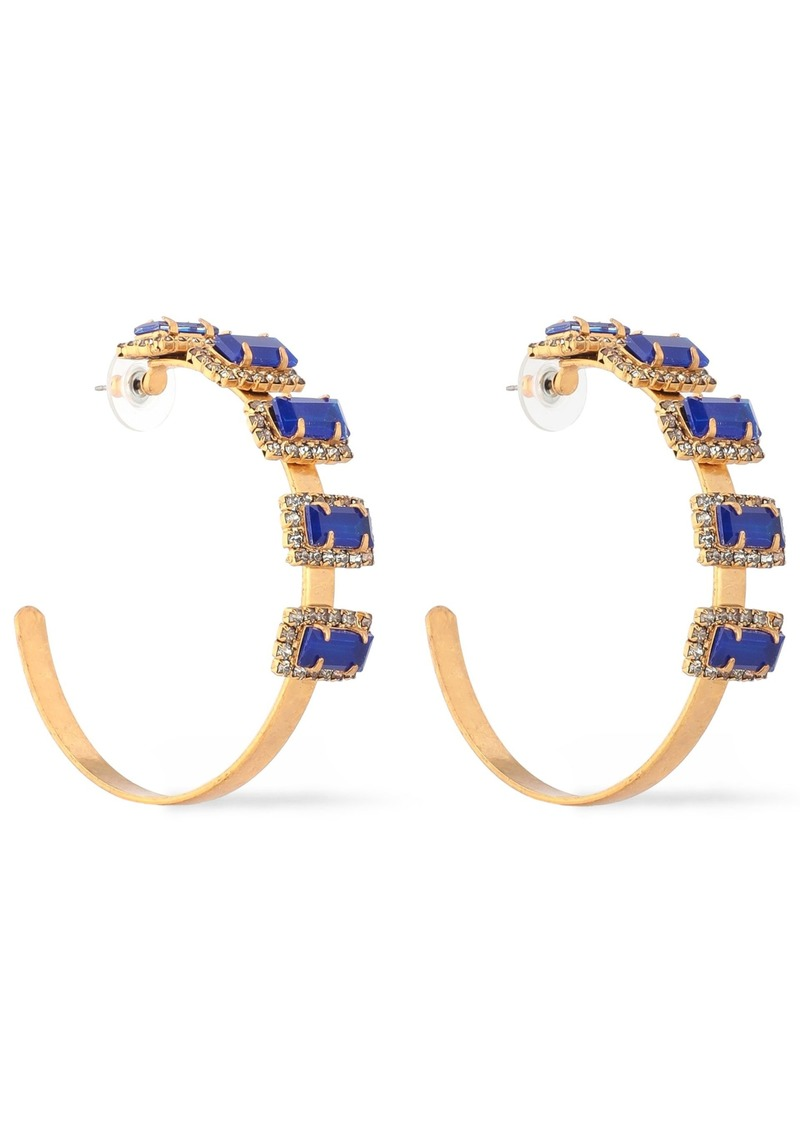 Elizabeth Cole Woman Jalus 24-karat Gold-plated Stone And Crystal Hoop Earrings Gold