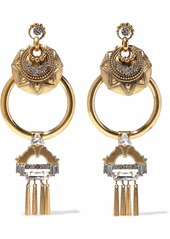 Elizabeth Cole Woman Kimona Burnished 24-karat Gold-plated Crystal Hoop Earrings Gold