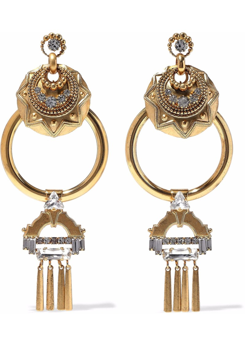 Elizabeth Cole Woman Kimona Burnished 24-karat Gold-plated Crystal Hoop Earrings Gold