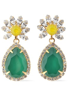 Elizabeth Cole Woman Loomis 24-karat Gold-plated Stone And Crystal Earrings Emerald