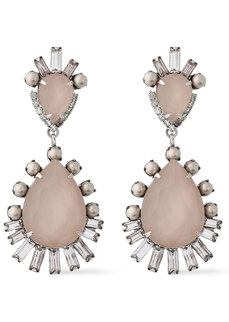 Elizabeth Cole Woman Oakley Silver-tone Stone  Swarovski Pearl And Crystal Earrings Blush