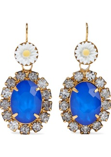 Elizabeth Cole Woman 24-karat Gold-plated Resin And Crystal Earrings Blue
