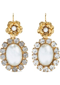 Elizabeth Cole Woman 24-karat Gold-plated Resin And Crystal Earrings Gold