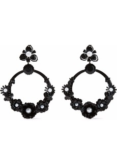 Elizabeth Cole Woman Pearson Resin And Faux Pearl Hoop Earrings Black
