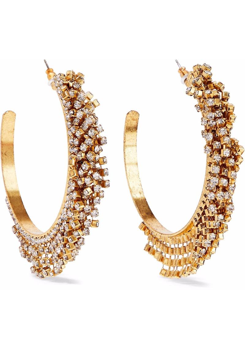 Elizabeth Cole Woman Raven 24-karat Gold-plated Swarovski Crystal Hoop Earrings Gold