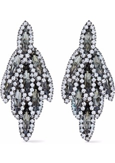 Elizabeth Cole Woman Silver-tone Crystal Earrings Black