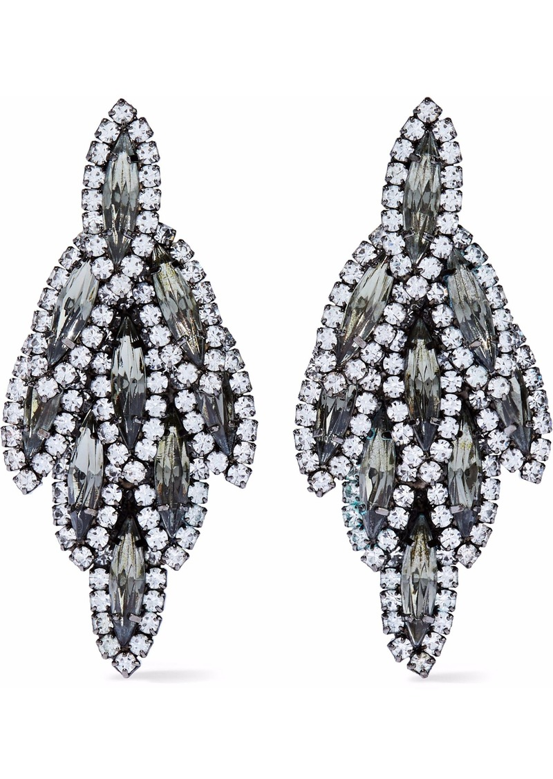 Elizabeth Cole Woman Silver-tone Crystal Earrings Black