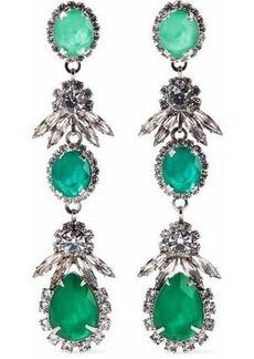 Elizabeth Cole Woman Silver-tone Crystal Earrings Green