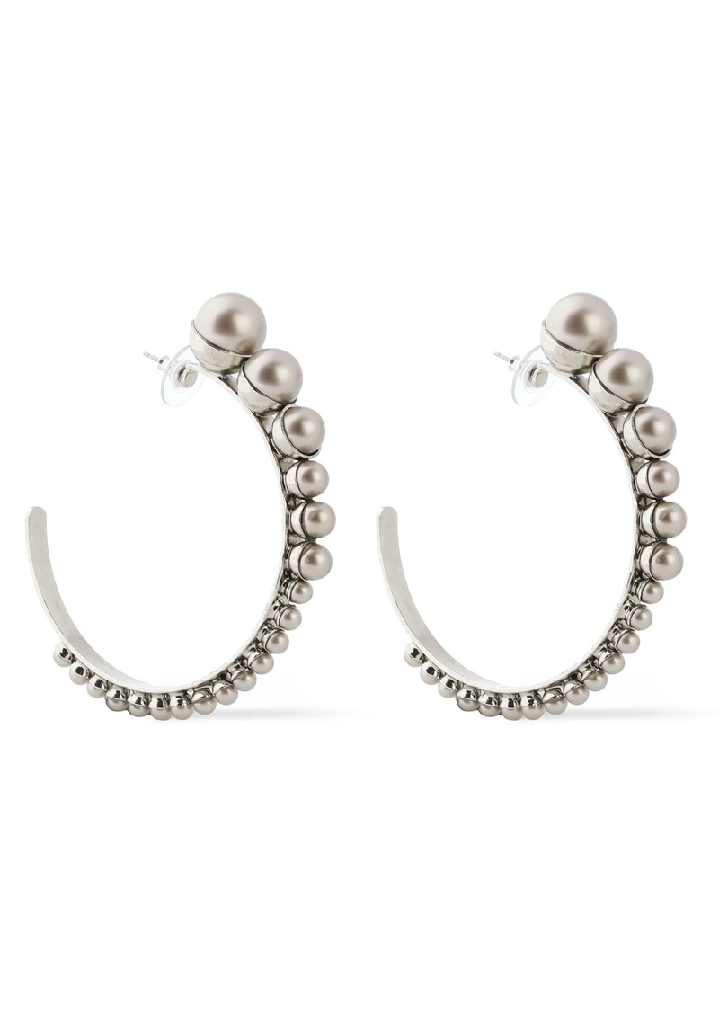 Elizabeth Cole Woman Silver-tone Faux Pearl Earrings Platinum