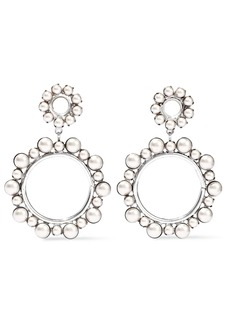 Elizabeth Cole Woman Silver-tone Faux Pearl Hoop Earrings Platinum