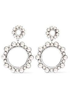Elizabeth Cole Woman Silver-tone Faux Pearl Hoop Earrings Platinum