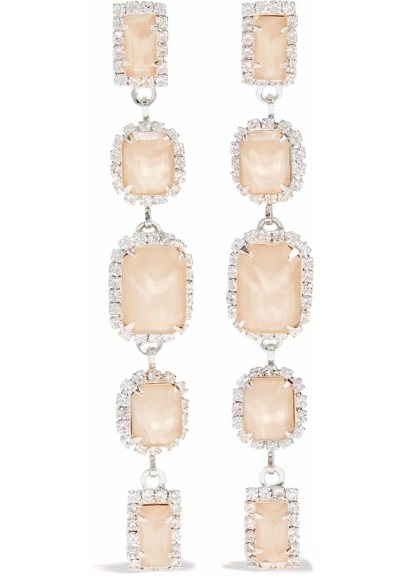Elizabeth Cole Woman Silver-tone Swarovski Crystal And Stone Earrings Beige