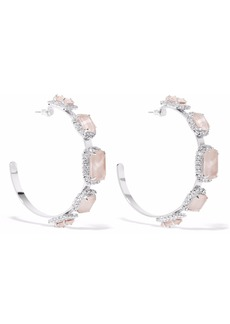 Elizabeth Cole Woman Silver-tone Swarovski Crystal And Stone Hoop Earrings Silver