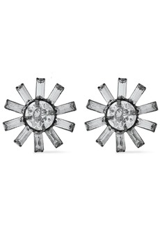 Elizabeth Cole Woman The Clarabelle Gunmetal-tone Swarovski Crystal Earrings Silver