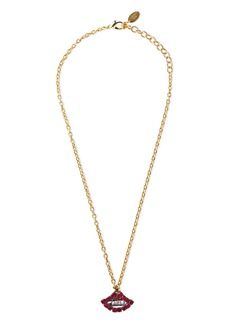 Elizabeth Cole Woman The Kissy 24-karat Gold-plated Crystal Necklace Crimson