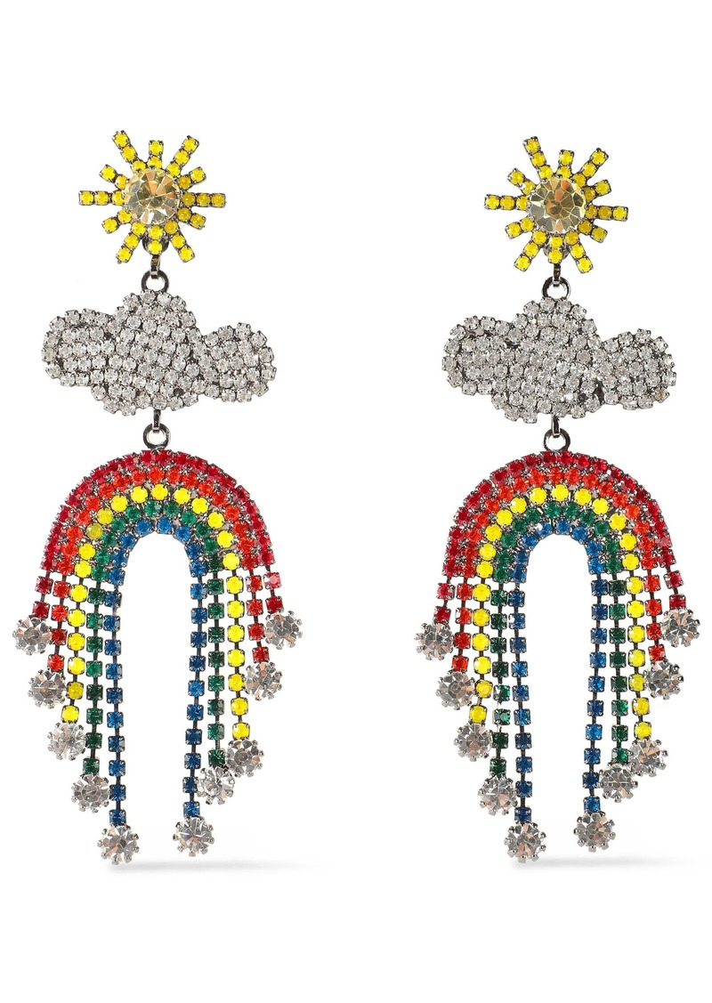 Elizabeth Cole Woman The Pot Of Gold Gunmetal-tone Crystal Earrings Multicolor