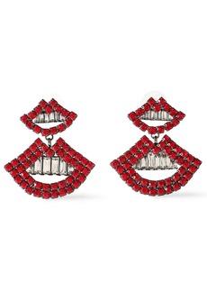Elizabeth Cole Woman The Smile Gunmetal-tone Crystal Earrings Crimson
