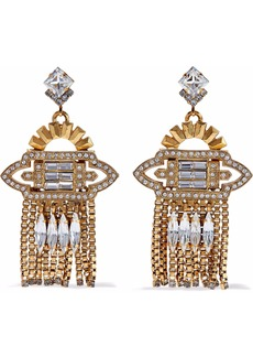 Elizabeth Cole Woman Velma 24-karat Gold-plated Swarovski Crystal Earrings Gold